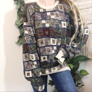 Vintage Oversized Patchwork Square Chunky Sweater